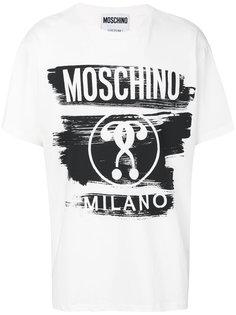 футболка с прнинтом логотипа Moschino