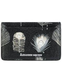 кредитница с рисунком перьев павлина Alexander McQueen