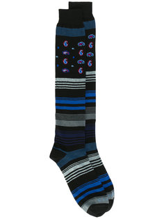 полосатые носки с цветочным принтом Etro