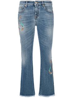 укороченные джинсы с вышивкой Roberto Cavalli