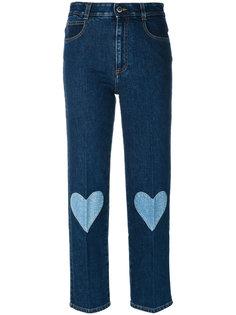 укороченные джинсы с вышитыми сердцами Stella McCartney