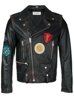 классическая мотоциклетная куртка с нашивками  Saint Laurent