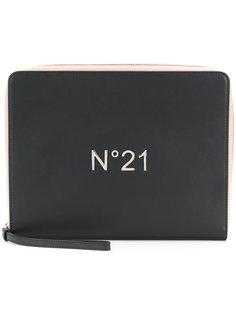 клатч на молнии с логотипом Nº21