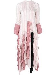 платье в полоску с оборками  J.W.Anderson