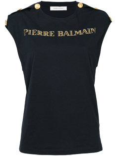 топ с золотистым логотипом Pierre Balmain
