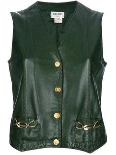 кожаный жилет с резным подолом Céline Vintage