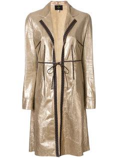 пальто миди с эффектом металлик Fendi Vintage