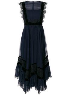 приталенное платье с кружевной отделкой Alberta Ferretti