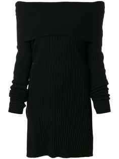 ребристое платье джерси с воротником-лодочкой Twin-Set