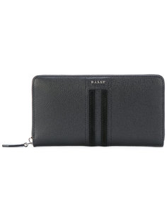 кошелек на молнии с полосками и логотипом Bally
