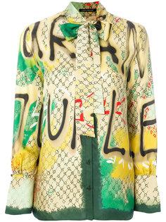 graffiti print neck tie shirt Luisa Cerano