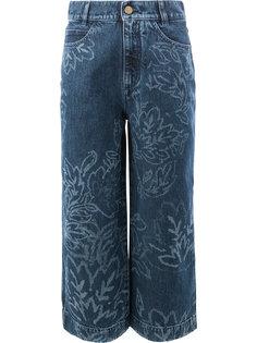 расклешенные укороченные джинсы с цветочным узором и эффектом обесцвечивания Peter Pilotto