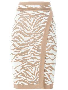 юбка-карандаш с зебровым узором  Balmain