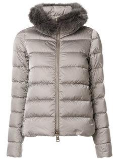 дутая куртка с воротником из искусственного меха  Herno
