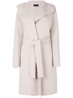 однобортное пальто с поясом  Joseph
