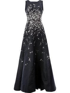 платье с аппликацией из пайеток Oscar de la Renta