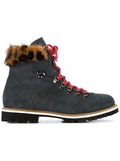 ботинки по щиколотку с леопардовой оторочкой из меха норки Mr & Mrs Italy
