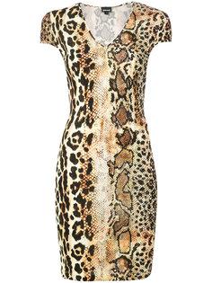 облегающее платье с рисунком под змею Just Cavalli