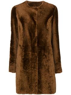 пальто с мехом без воротника Drome