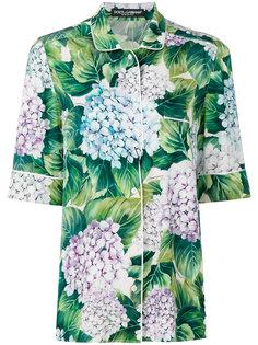 рубашка в пижамном стиле с гортензиями Dolce & Gabbana