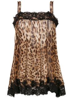 полупрозрачный топ с леопардовым принтом  Dolce & Gabbana Vintage