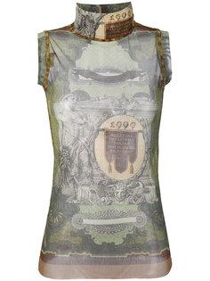 полупрозрачный топ с принтом  Jean Paul Gaultier Vintage