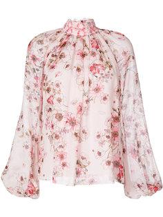 блузка с высокой горловиной в цветочный узор Giambattista Valli