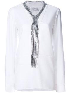 блузка со съемными металлическими завязками Paco Rabanne