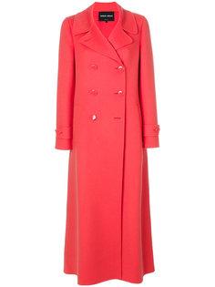 двубортное удлиненное пальто Giorgio Armani