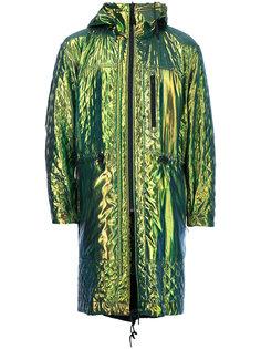 стеганое пальто с капюшоном и эффектом металлик Issey Miyake Vintage