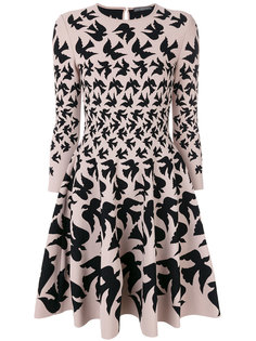 расклешенное платье с принтом птиц  Alexander McQueen