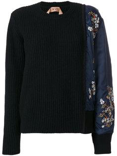 свитер с жаккардовым рукавом Nº21