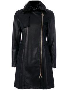 приталенное пальто с кожаным эффектом Twin-Set