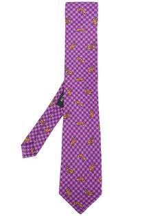 галстук в клетку с животным принтом  Etro