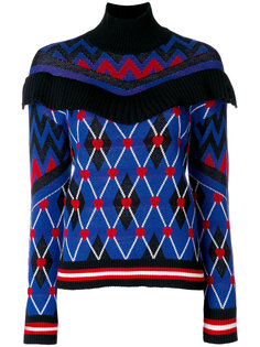свитер в клетку с сердечками  MSGM