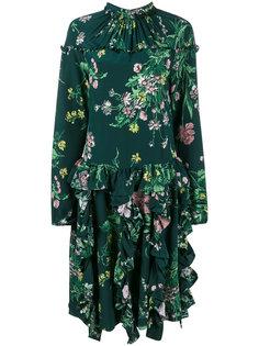 платье с цветочным рисунком и оборками Rochas