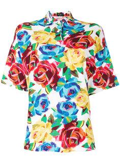 рубашка-поло с цветочным принтом  Versace Vintage