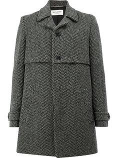 пальто с узором в елочку Saint Laurent