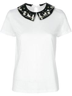 футболка с воротником с цветочным декором Valentino