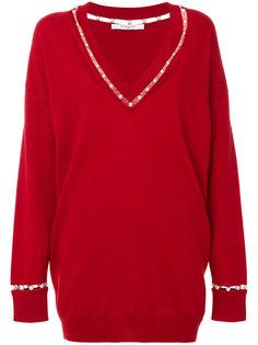 свитер с V-образным вырезом и жемчужной отделкой  Givenchy
