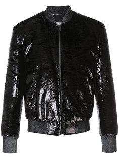 блестящая куртка бомбер Saint Laurent