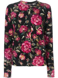 кашемировый кардиган с принтом роз  Dolce & Gabbana
