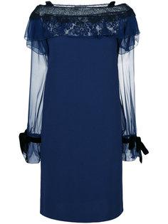 платье шифт с кружевной вставкой  Alberta Ferretti