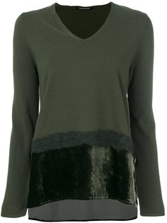 faux fur trim detail knit top Luisa Cerano