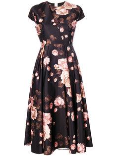 платье с короткими рукавами и принтом роз  Rochas