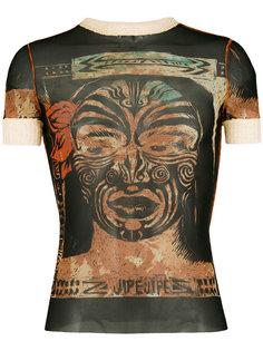 полупрозрачная футболка с принтом  Jean Paul Gaultier Vintage