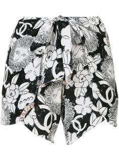 шорты с цветочным принтом  Chanel Vintage
