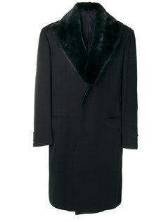 пальто с меховым воротником Brioni