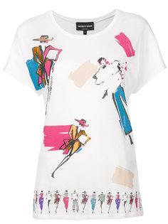 футболка с набросками модных иллюстраций Emporio Armani