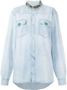 декорированная джинсовая рубашка  Forte Couture